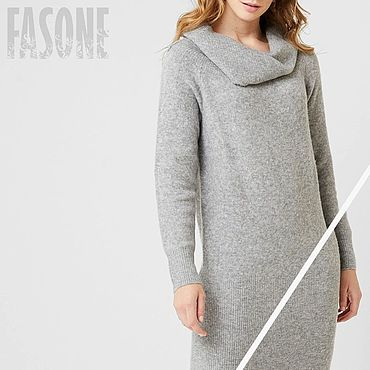 Clothing handmade. Livemaster - original item dresses: Knitted dress gray with collar