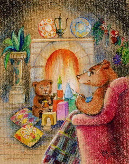 """Животные ручной работы. Ярмарка Мастеров - ручная работа. Купить Картина """"У бабушки"""". Handmade. Рыжий, семья, бабушка, внук"""