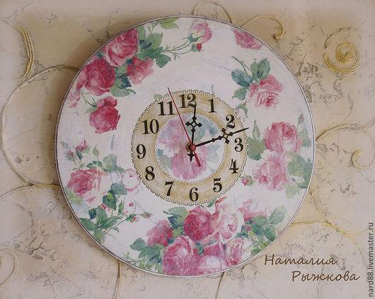 Часы для дома ручной работы. Ярмарка Мастеров - ручная работа. Купить часы настенные Нежность роз. Handmade. Розовый