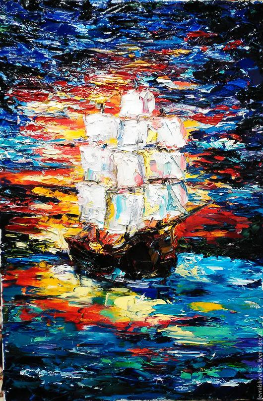 """Пейзаж ручной работы. Ярмарка Мастеров - ручная работа. Купить """" В далекой гавани"""". Handmade. Тёмно-синий, море"""