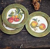 """Посуда ручной работы. Ярмарка Мастеров - ручная работа """"Любимые фрукты"""" Набор декоративных тарелок,для дачи. Handmade."""