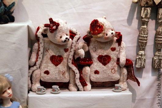 Мишки Тедди ручной работы. Ярмарка Мастеров - ручная работа. Купить Червонные Король и Дама. Handmade. Белый, червонная дама