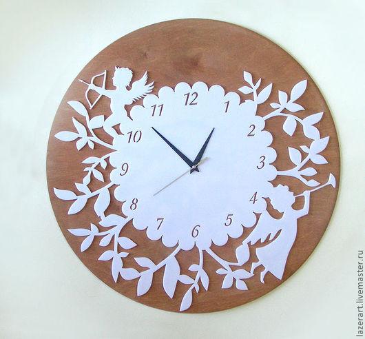 """Часы для дома ручной работы. Ярмарка Мастеров - ручная работа. Купить Часы """"Ангелочки на ветках"""". Handmade. Часы настенные"""