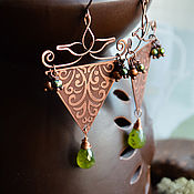 Earrings manualidades. Livemaster - hecho a mano Copper earrings