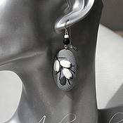 Украшения handmade. Livemaster - original item Grey oval earrings with white berries. Handmade.
