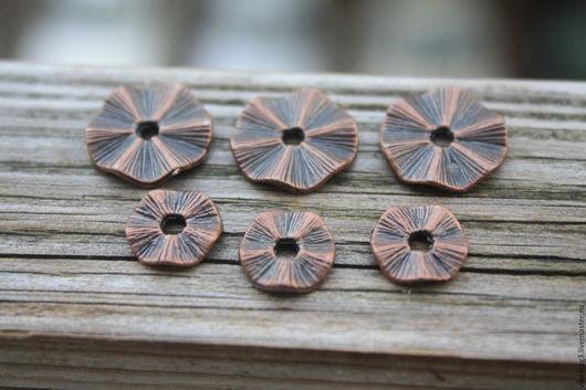 Для украшений ручной работы. Ярмарка Мастеров - ручная работа. Купить Спейсеры волнистые, цвет медь, 10 мм ( КРУПНЫХ НЕТ). Handmade.