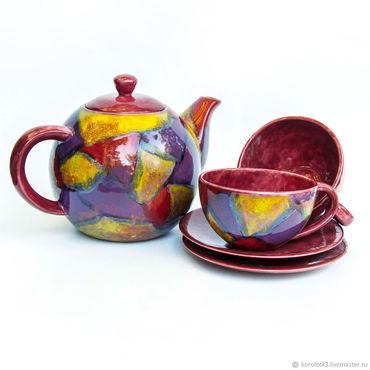 Посуда ручной работы. Ярмарка Мастеров - ручная работа Чайный набор фарфоровый Арлекин ручной работы. Handmade.