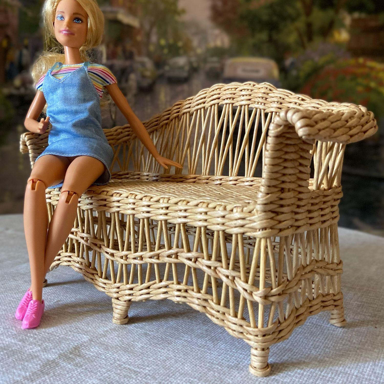 Кукольный диван плетёный, Мебель для кукол, Ахтубинск,  Фото №1