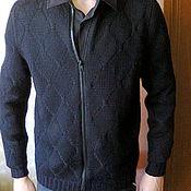 handmade. Livemaster - original item knitted men`s jumper with zip. Handmade.