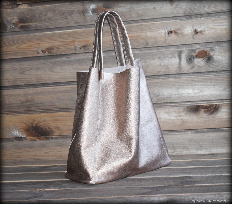 Женские сумки ручной работы. Ярмарка Мастеров - ручная работа. Купить Шопер из натуральной кожи. Handmade. Большая сумка