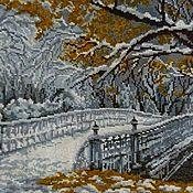 """Картины ручной работы. Ярмарка Мастеров - ручная работа Вышитая картина """"Заснеженный мост"""". Handmade."""