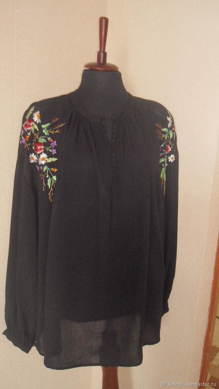 вышитая шелком блузка, Блузки, Тольятти, Фото №1