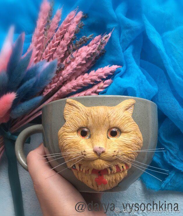 Кружки и чашки ручной работы. Ярмарка Мастеров - ручная работа. Купить Кружечка с декором из полимерной глины 'Рыжий кот'. Handmade.