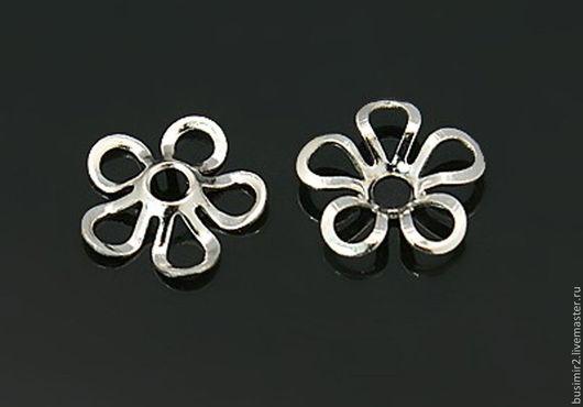 Шапочка для бусин, цвет - серебро. Размер 8 мм. Фурнитура для создания украшений. Busimir