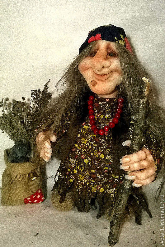 Сказочные персонажи ручной работы. Ярмарка Мастеров - ручная работа. Купить баба-яга. Handmade. Коричневый, капроновая кукла