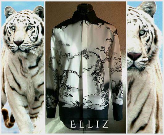 Блузки ручной работы. Ярмарка Мастеров - ручная работа. Купить Блуза № 320. Handmade. Чёрно-белый, белый тигр