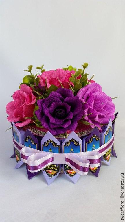 """Букеты ручной работы. Ярмарка Мастеров - ручная работа. Купить Торт из конфет """"К чаю"""". Handmade. Разноцветный, конфетный подарок"""