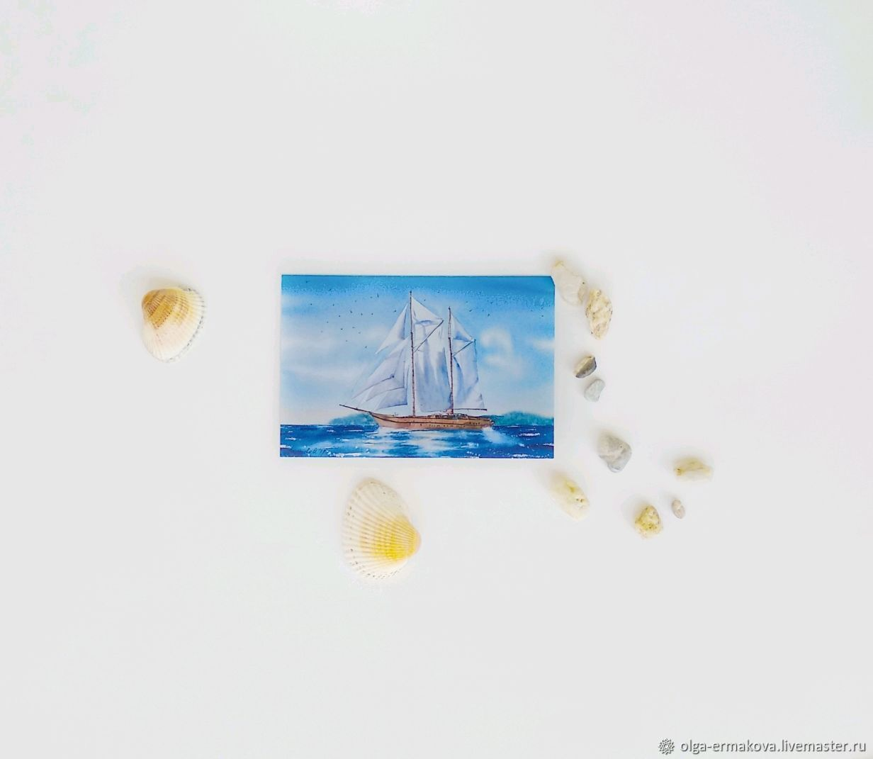 Author's postcard with a ship and the sea to a man, Cards, Moscow,  Фото №1