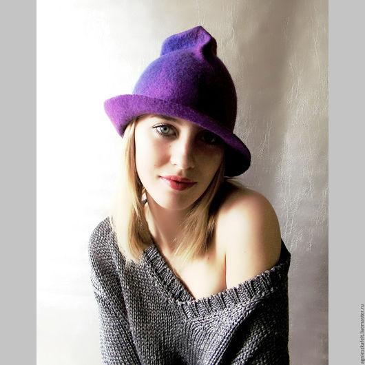 """Шляпы ручной работы. Ярмарка Мастеров - ручная работа. Купить Шляпка """"Эмоции"""". Handmade. Тёмно-фиолетовый, пурпурный цвет, лиловый"""