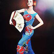 """Одежда ручной работы. Ярмарка Мастеров - ручная работа Платье спицами """"Глориоза"""" из шелка с объемными аппликациями. Handmade."""