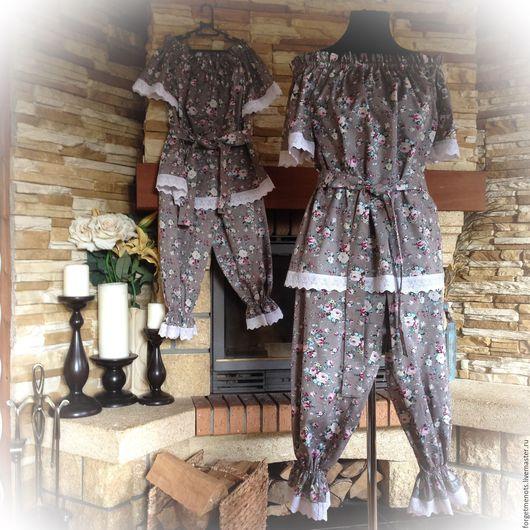 """Белье ручной работы. Ярмарка Мастеров - ручная работа. Купить Пижамы для мамы и дочки """"В сонном царстве"""". Handmade. Серый"""