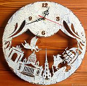 Подарки к праздникам handmade. Livemaster - original item Winter Petersburg original wall clock handmade. Handmade.