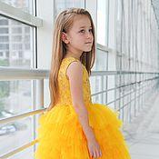 Работы для детей, ручной работы. Ярмарка Мастеров - ручная работа Нарядное платье для девочек yellow. Handmade.