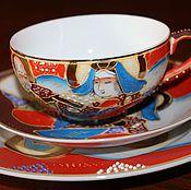 Винтаж handmade. Livemaster - original item Vintage tea Troika, lithophany, hand painted, Imari. Handmade.