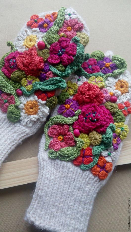 Повязки ручной работы. Ярмарка Мастеров - ручная работа. Купить варежки Весенние цветы. Handmade. Белый, яркий, дизайнерские, купить
