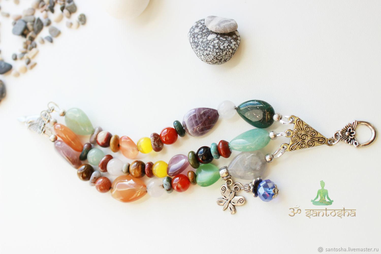 """Браслет широкий с натуральными камнями """"Наваграха"""" (BR0161)"""