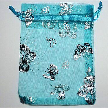 Подарочный мешочек из органзы голубой с бабочками 9 х 12 см