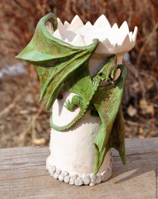"""Подсвечники ручной работы. Ярмарка Мастеров - ручная работа. Купить Аромолампа """"Драконья башня"""". Handmade. Комбинированный, глиняный замок"""