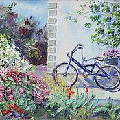handmade. Livemaster - original item Oil painting. flower bike.. Handmade.