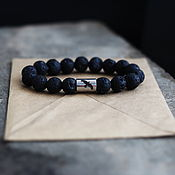 Украшения handmade. Livemaster - original item Raven bracelet    of lava and medical steel. Handmade.