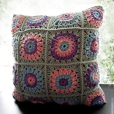 Textiles handmade. Livemaster - original item Knitted decorative pillow Pastel. Handmade.