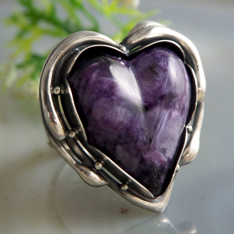 The ring is a 'Charmer' - charoite, 925 sterling silver, Rings, Prague,  Фото №1