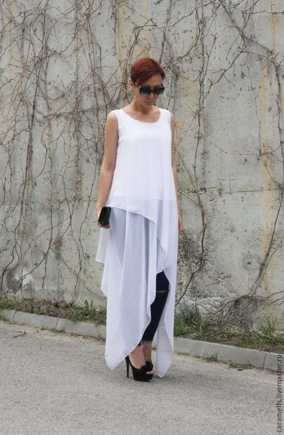3c31e639022f Платья ручной работы. Ярмарка Мастеров - ручная работа. Купить Белое платье  - туника.