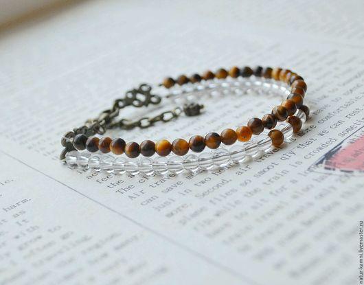 браслет из тигрового глаза браслет из горного хрусталя украшения натуральные камни браслет натуральные многорядный браслет винтажный браслет винтажные украшения браслет винтаж