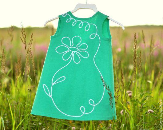 Одежда для девочек, ручной работы. Ярмарка Мастеров - ручная работа. Купить Платье для девочки Ромашка. Handmade. Мятный, платье льняное