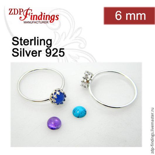 Для украшений ручной работы. Ярмарка Мастеров - ручная работа. Купить 2 серебряных кольца сеттинг 6мм оправа основа для кольца  R9377SH. Handmade.