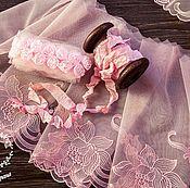 Материалы для творчества ручной работы. Ярмарка Мастеров - ручная работа Кружевной набор 380 вышивка на сетке шебби ленты. Handmade.