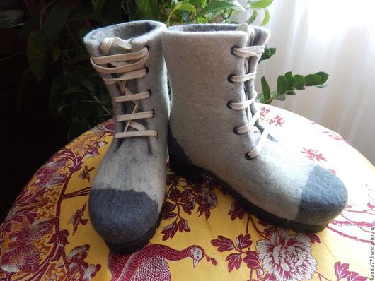 Обувь ручной работы. Ярмарка Мастеров - ручная работа. Купить Зимние валенки- ботинки. Handmade. Серый, валенки ручной работы