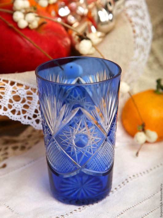 Винтажная посуда. Ярмарка Мастеров - ручная работа. Купить Хрустальный синий стаканчик 50-х годов. Handmade. Тёмно-синий