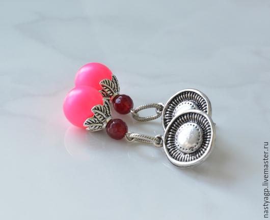 серьги , купить серьги , подарок , бижутерия , украшение , розовые серьги