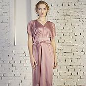 Одежда handmade. Livemaster - original item Dress evening pink long silk drape and belt. Handmade.