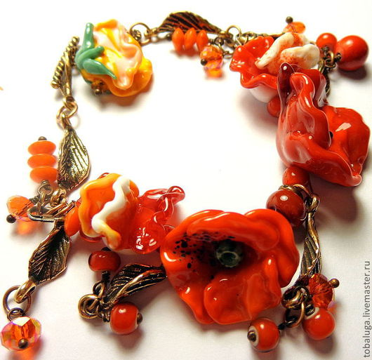 Браслеты ручной работы. Ярмарка Мастеров - ручная работа. Купить Браслет Цветы , кораллы и страсть... Handmade. Ярко-красный