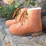 Обувь ручной работы. Ярмарка Мастеров - ручная работа Ботинки валяные Рыжие. Handmade.