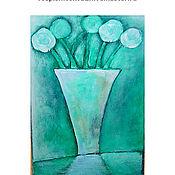 Картины и панно ручной работы. Ярмарка Мастеров - ручная работа Картина    Ваза  цветы  зеленый  мятный салатовый. Handmade.