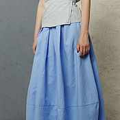 Одежда handmade. Livemaster - original item The skirt is made of linen and cotton summer blue pleated tapered-leg. Handmade.
