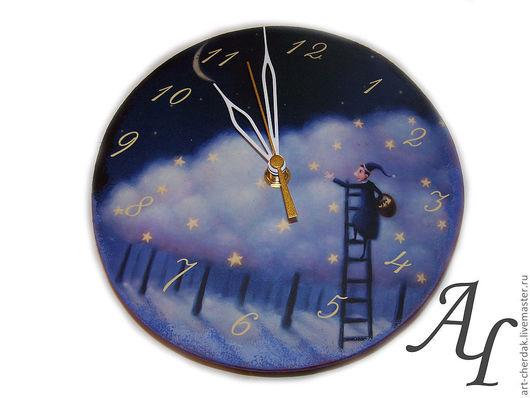 """Часы для дома ручной работы. Ярмарка Мастеров - ручная работа. Купить Часы двусторонние """"Собиратель звезд"""". Handmade. Необычные часы"""